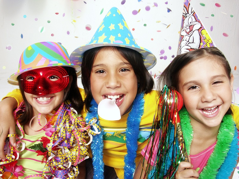Happy Kids with Party Supplies