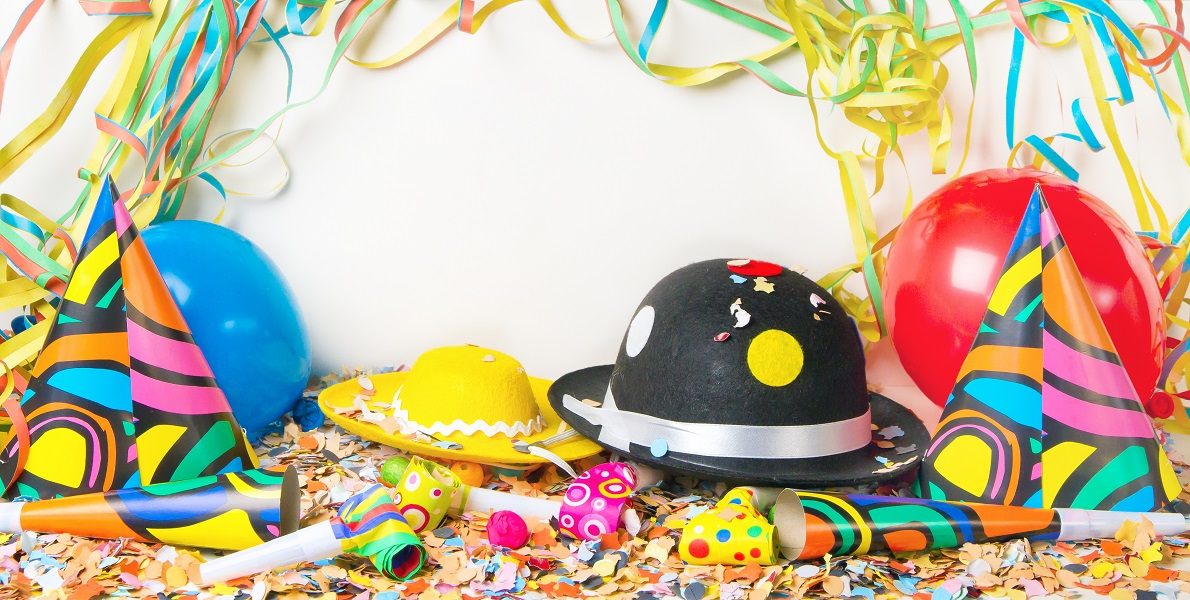 Party background with hats and balloons